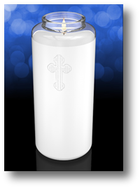 Clarity 6 1/2 inch Glass Devotional Church Candle