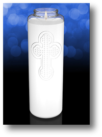 Clarity 8 inch Glass Devotional Church Candle
